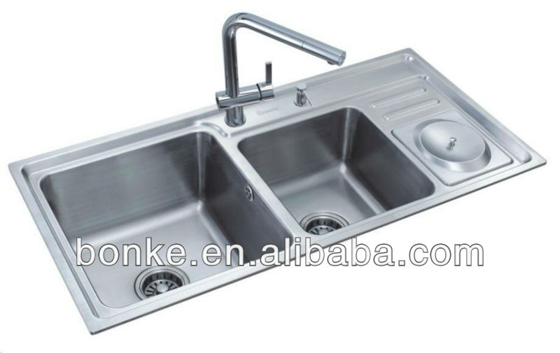 2 bowl kitchen sink with drainer BK-8806A