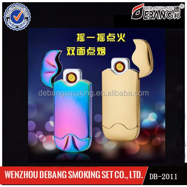 Fashion flameless double-sided rechargeable USB electronic lighter for gift