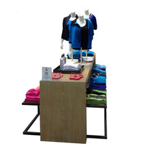 Metal and MDF low clothing display table set for cloth shop