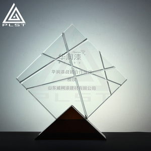 Customized Rhombic Shaped Crystal Award Trophy Optic Blank Glass Crystal Awards Plaque Pedestal For Souvenir Gifts