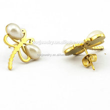 Wholesale Solid Simple Gold Earrings Designs for Women imitation Pearl Dragonfly Jewelry
