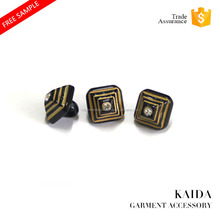 KAIDA newly imitate wood pyramid shape top place rhinestone plastic shank decorative button