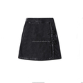Latest sexy slim ladies short leather black skirt