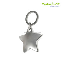 Custom shape star 3D effect blank design metal promotional keychain/metal key chain for sale