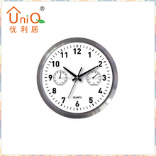 12 inch humidity and temperature aluminium wall clock