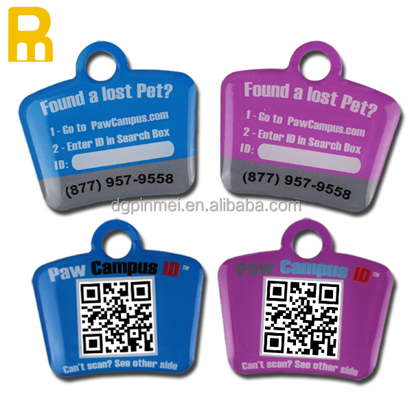 Cheap custom metal laser engraved qr code dog id tags with glass-like coating