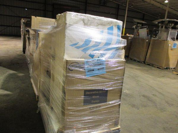 PARTIAL TRUCK MULTI PALLET LOT INCLUDES 14 PALLETS OF TUBS, TOILETS, VANITY CABINETS MEDICINE CABINETS, TOILET SEATS, & ...