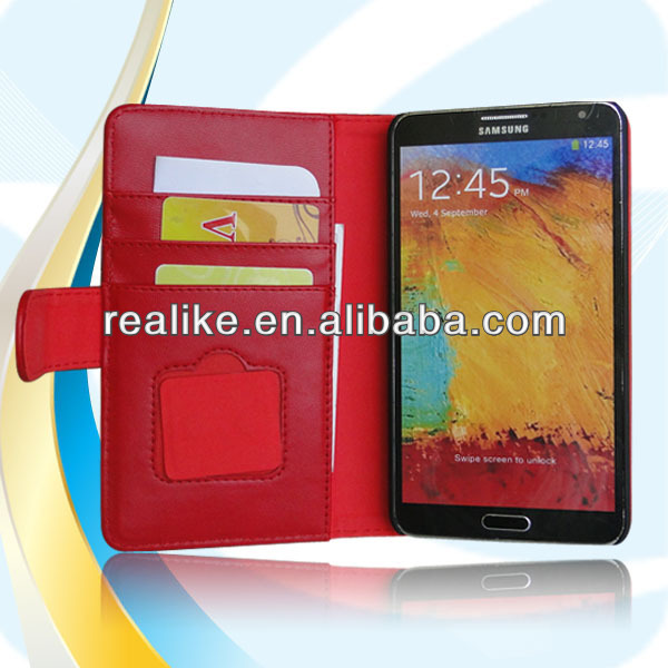 Hot Sell Book Style Leather Case For Galaxy Note 3, Wallet Case for Samsung Galaxy Note 3 Cleaning Cloth