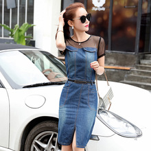 ZH0601L Stylish autumn sexy mesh women denim skirt short sleeve O neck women jean dress
