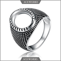 RN 6632 Aceworks 925 sterling silver ring blanks antique silver ring base setting DIY jewelry finger ring findings for men
