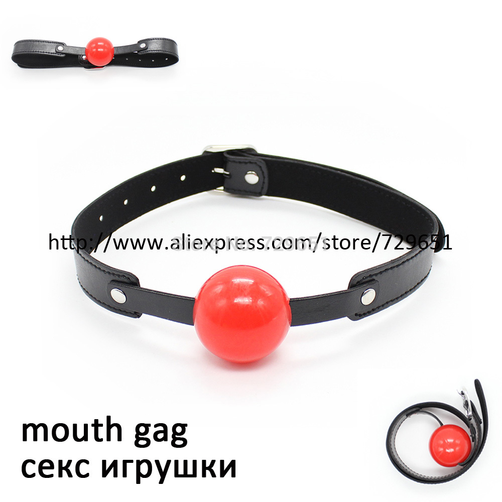 Black Red Soft Rubber 40mm Ball Gag,Pu Leather Mouth Plug,Oral Fiation Mouth Stuffed,Se Toys For Couple Fetish toy H0345