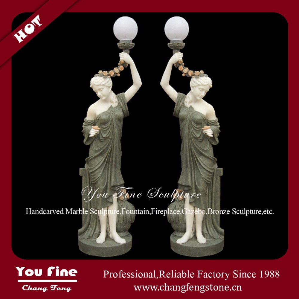 Garden Natural Stone Lady Sculpture With Lamp