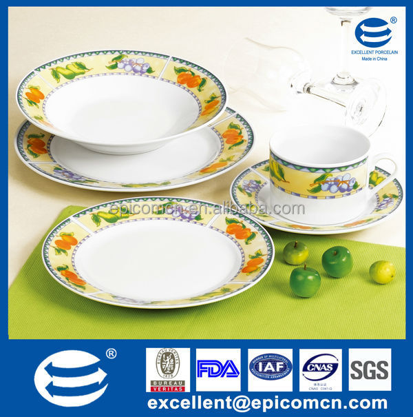 20pcs round Hotel Crockery Items with various kind fruit decoration