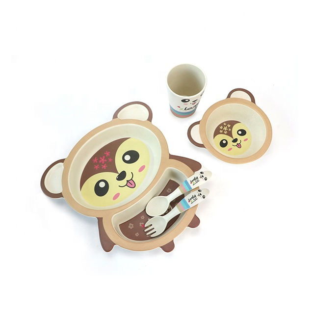 Bamboo Fiber Kids Tableware Dishes for Children Dining Set with Gift Box <strong>A008</strong>