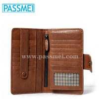 High Quality Genuine Leather Brown Men Travel Wallet