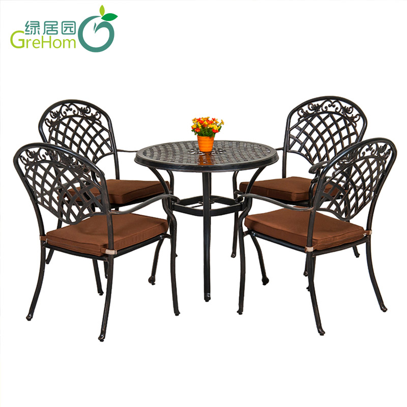 small patio cast aluminum table and chair for outdoor