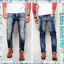 Wholesale Fashion Designer Classical Europeans Fit Size Mens Blue Faded Skinny Jeans