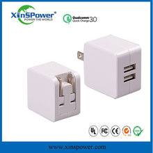 GUANGZHOU 2 USB ports UE/US version 5V 10W OEM CE/FCC/Ul approved portable mobile phone charger