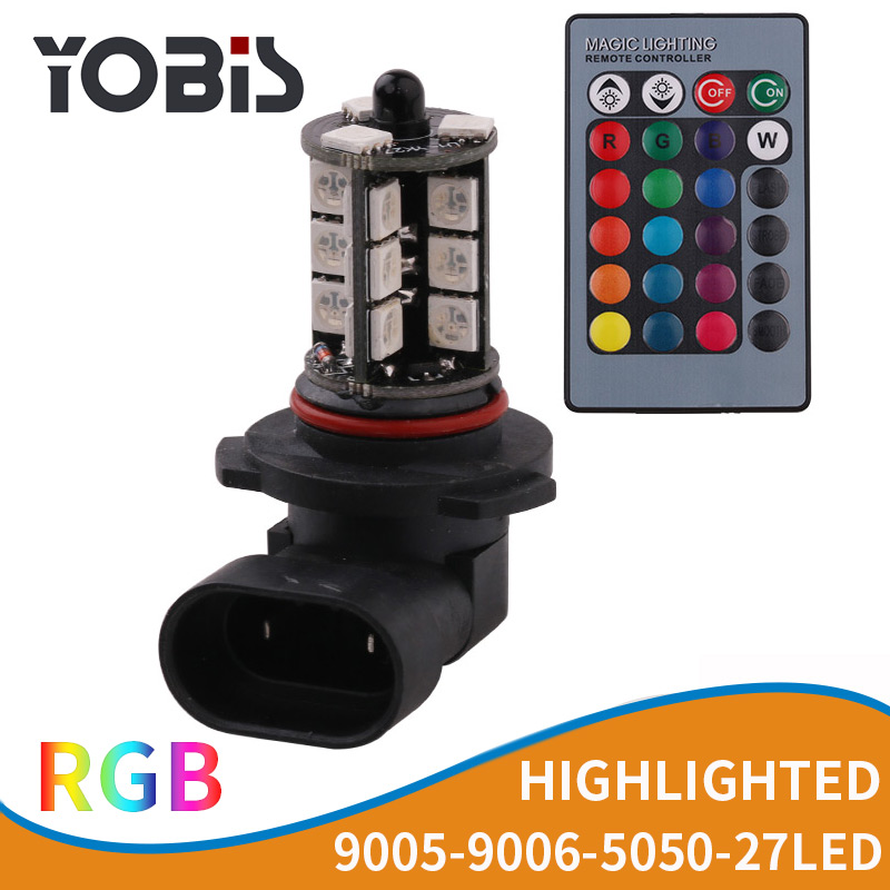 YOBIS Hot Selling H4 9005 9006 H7 H8/H11 27LED RGB colorful 5050 27SMD 2.4W car led fog lights