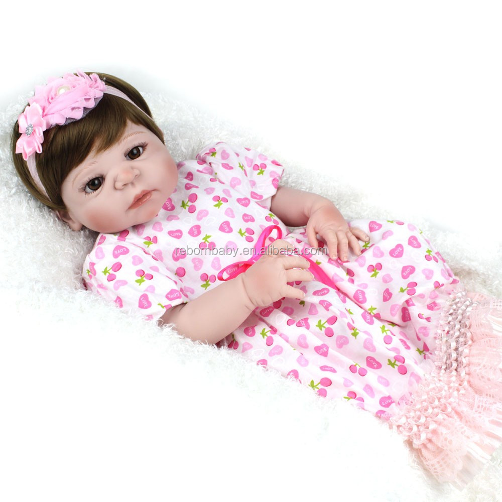 Wholesale Full Body Silicone Baby For Sale 22inch Reborn Baby Dolls Girl Hair Wigs Lifelike Babies Doll