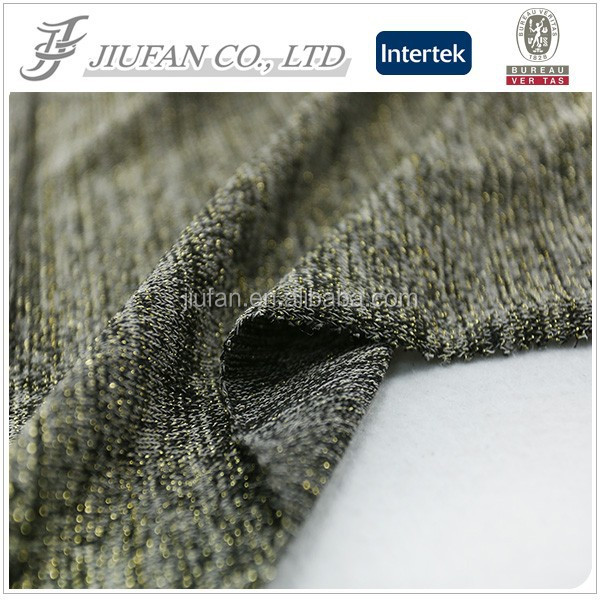 Jiufan Textile Latest Popular Hacci Polyester Spandex Fabric with Lurex