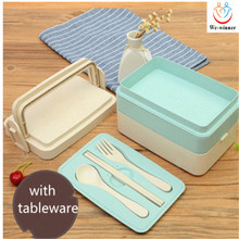 hot selling plain colour lunch box,wheat straw double layer lunch box ,meal box with tableware