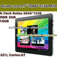 Quad-core Ultra-thin 9.7inch Retina 2048*1536 Capacitive Touch Screen table pc,10 Points Multi-touch,DDRIII 2GB Built-in 16GB