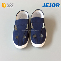 Navy Blue Canvas Soft PU Sole Industrial Antistatic Safety Shoes