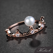 Crown design gold plated 925 silver natural fresh water pearl ring