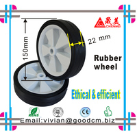 4 inch small solid Ruled plastic rubber wheel