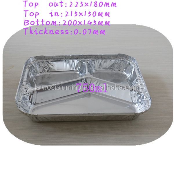 3 Compartment Oblong Take-Out Foil Pan Bulk Pack