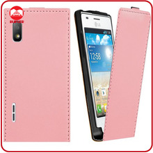 Fashion Pink Vertical Slim Fit Genuine Leather Flip Case for LG Optimus L5 E612