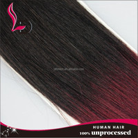 Human european ombre hair weaves two tone color 1b red human virgin silk straight copper red hair weave