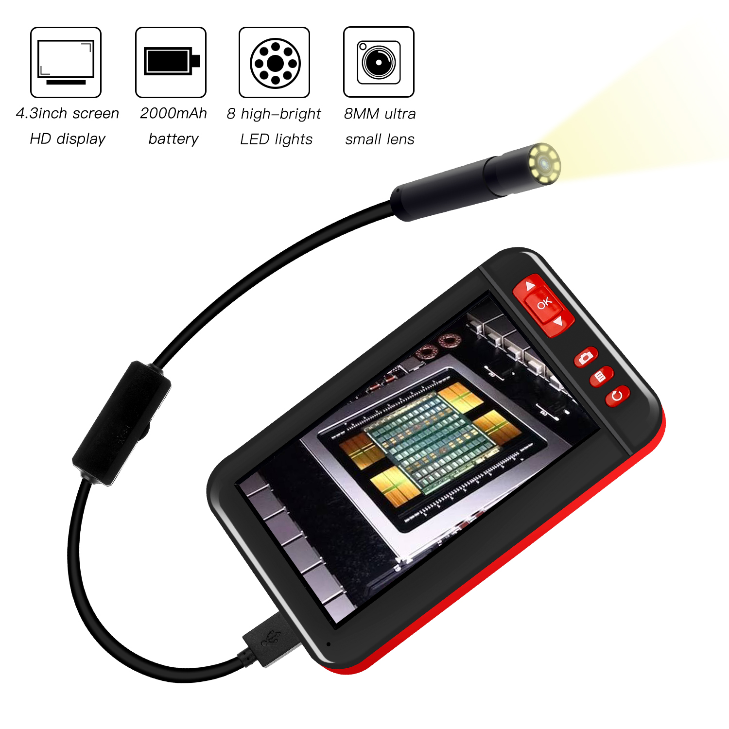USB Connection Simple 8leds Lighting Source Techologe Family Endoscope with Soft Wires