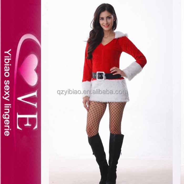 Christmas Party Fashion Mini Stylish Christmas Santarina Costumes Sexy Package Hip Skirt Dress With Belt