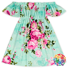 Mint Color Floral Milk Silk Fabric Children Summer Dress Kids Off The Shoulder Dresses Boutique Baby Girls One Piece Party Dress