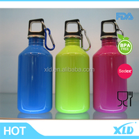 Colorfull painting with high quality with carabiner hook single wall stainless steel water bottle