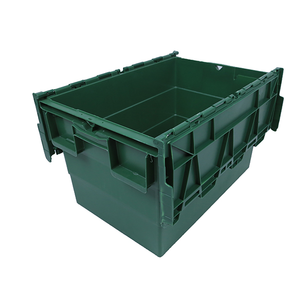 Big blue shipping box attached lid storage container wholesale <strong>Plastic</strong> Tote