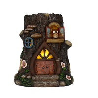 Resin lighted large tree stump fairy garden decoration houses