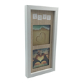 Decorative Wood Divided Wall Hanging Picture Photo Frame, 4 by 4-Inch, 2 Openings, White