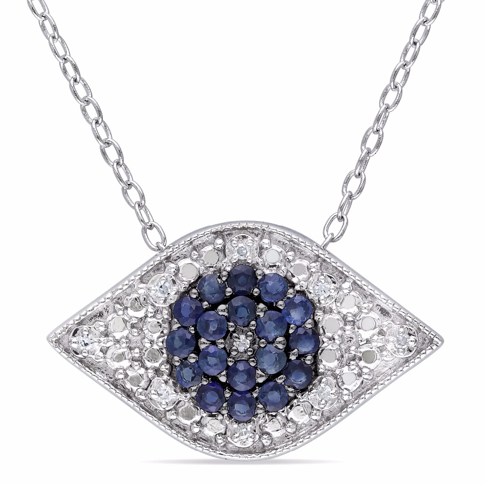 High Quality Bule Sapphire 925 Sterling Silver Evil Eye Charm Necklace