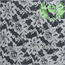 Polyester white floral cord lace fabric for garment