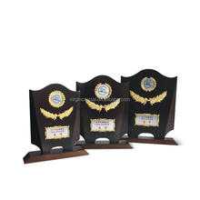 Wholesale wooden wall plaques with customized metal logo plate for office decoration
