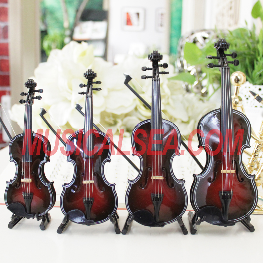 High Quality Miniature wooden violin/ Cello designer decoration musical instrument handmade craft for promotional gift items