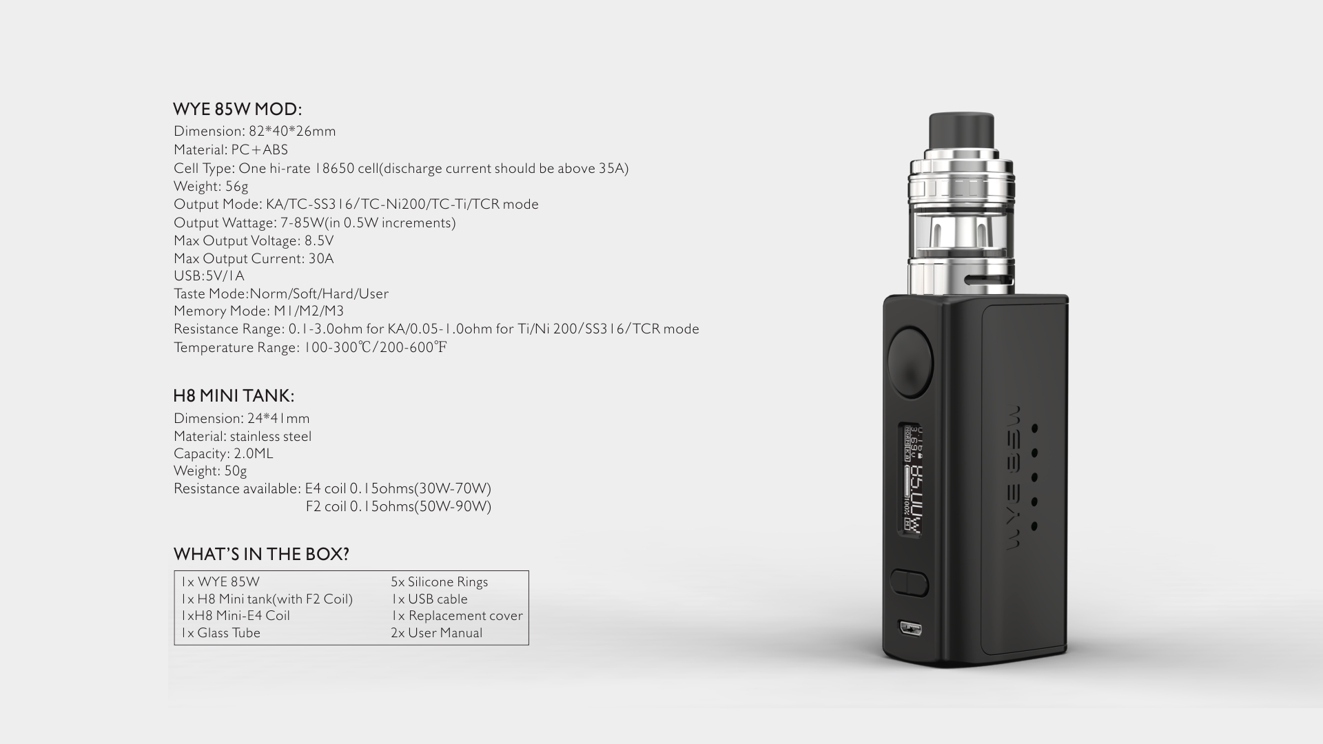 Wholesale Electronic Cigarette Tesla WYE 85W 2ml Kit from Teslacigs