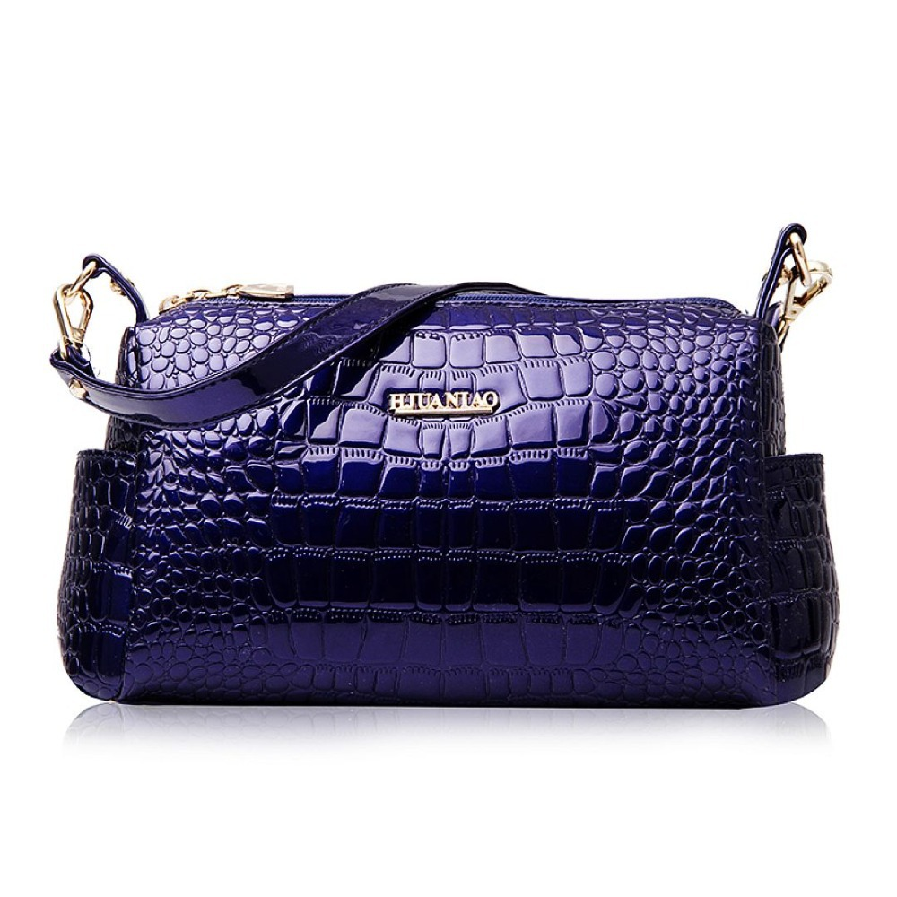 2015 England Style Fashion Alligator Zipper Women Handbags Portable Messenger Bags High Quality Bright Patent Leather Handbag