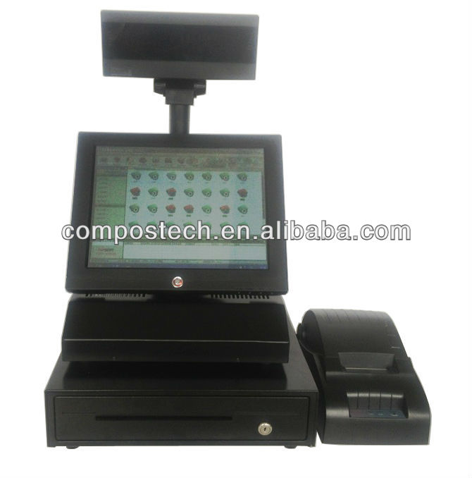 "POS8813S --- Bar Code Scanner, Receipt Printer, Customer Pole Display, Keyboard, Cash Drawer Included 12"" Retail POS System"