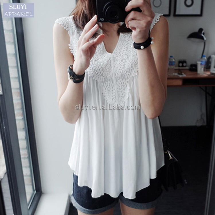 V Neck Sleeveless fashion Blusas ladies Sexy Black White patchwork Crochet slim ruffles pleated women chiffon blouse and tops