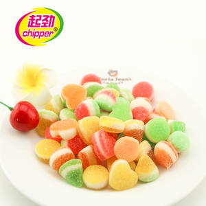 Colorfuly heart shape coated gummy candy soft candy