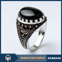 Huihao Brand Jewelry fashion latest design handcruff turkish black stone man ring silver 925